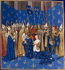 Couronnement de Louis VIII le Lion, Grandes Chroniques de France, enluminées par Jean Fouquet - Blanche de Castille pendant la Régence joue un rôle éminent dans l'éducation de son fils, le futur saint-Louis, et durant le règne de ce dernier. Elle gouverne à nouveau le royaume pendant la 7° croisade (1248).