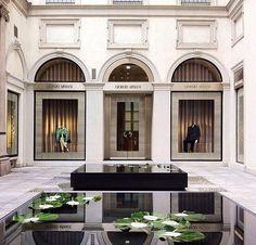 ARMANI STORE IN MILAN Giorgio Armani, Armani Store, Solar Panel Manufacturers, Monopole, Window Display Design, Luxury Store, Shop Fronts, Retail Interior, Facade Design