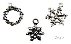 Sterling Silver Christmas Charms.  Snowflake, Poinsetta and Wreath