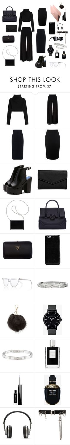 """""""Black and black, no, i am not tired"""" by whykarlo ❤ liked on Polyvore featuring Valentino, Marco de Vincenzo, 10 Crosby Derek Lam, Alexander McQueen, LULUS, Nine West, Versace, Prada, Maison Margiela and Prism"""
