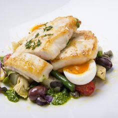 This dish is delicious served with a warm Nicoise style salad of new potatoes, green beans, olives, tomatoes and soft boiled eggs. Basil Recipes, Veg Recipes, Curry Recipes, Sauce Recipes, Seafood Recipes, Pan Fried Fish, Baked Fish, Easy Fish Recipes, Bbc Good Food Recipes
