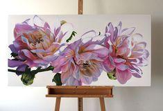 Dahlias by Freya Powell Oil Painting Flowers, Watercolor Flowers, Watercolor Paintings, Painting Art, Watercolour, Big Flowers, Large Art, Botanical Art, Art Oil