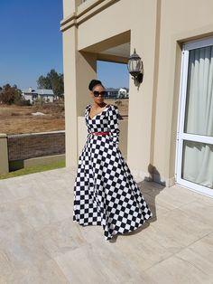 Black and White Maxi Dress Xhosa Attire, African Attire, African Wear, African Print Dresses, African Fashion Dresses, African Dress, Maxi Outfits, Maxi Dresses, Casual Dresses