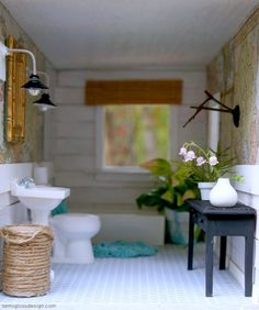 awesome eclectic cabin dollhouse bathroom
