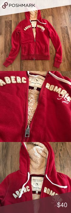 Abercrombie Faux Fur Lined ZipUp Hoodie Red Size L Really heavy and soft. Faux fur lined, red Abercrombie authentic vintage zip up hoodie. Great condition. Abercrombie & Fitch Tops Sweatshirts & Hoodies