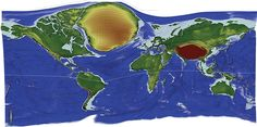 Earth's most remote locations enlarged on a world map