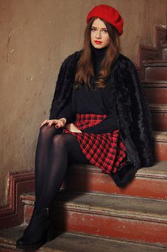 """""""The French Girl"""" by Iga W., 19 yr old from Poland. Coat, Skirt, Zara Sweater, Vagabond Shoes"""