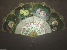 BEAUTIFUL 1911 Antique Victorian Die Cut German Paper Fan with ROSES Flowers