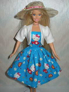 Handmade Barbie doll clothes  blue hello kitty by TheDesigningRose, $15.00