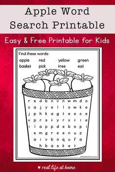 Kindergarten Word Search, Kindergarten Activities, Kid Activities, Puzzles For Kids, Worksheets For Kids, Fall Word Search, Apple Word, Apple Picture, Fall Words
