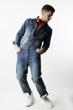 Jeans overall for men by Glimms New York, these long sleeves overalls have the best quality denim. | www.differio.com