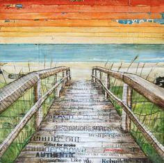 Danny Phillips Art - mixed media Beach walk