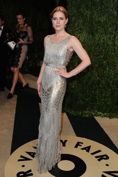 Amy Adams in Oscar de la Renta last night at the Vanity Fair Oscar Party.