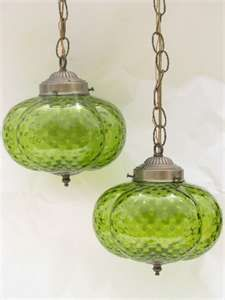Vintage Tiffany Slag Glass Hanging Swag Lamps - Had lamps that looked like this in my parents living room, except they were amber.