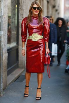 Anna Dello Russo in full force rocking that dolce and Gabbana frock in Milan. #MFW2014 #AdR