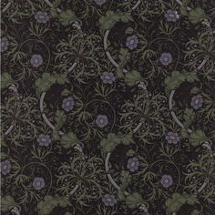 The Morris Apprentice Seaweed 1901 reproduction fabric pattern 8246-16 in the black colorway by Barbara Brackman for Moda Fabrics.