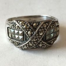 Vintage oxidized for antique look X style sterling silver marqicite ... Lot 163