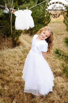 baptism pictures...do this again with the wedding dress on and baby blessing and baptism dress pictures hanging up.