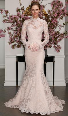 Blush lace gown with long sleeves and high neckline   Legends by Romona Keveza Spring 2017   https://www.theknot.com/content/legends-by-romona-keveza-wedding-dresses-bridal-fashion-week-spring-2017