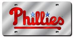 Philadelphia Phillies Wordmark Silver Laser-Cut Auto Tag