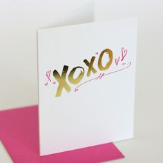 XOXO valentines letterpress & foil card valentines greeting card for your bestie girlfriend or boyfriend