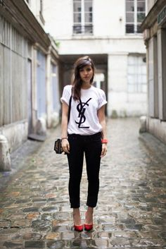 1000 images about t shirt on pinterest chanel t shirts for Ysl logo tee shirt