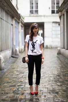 Mens T-shirt YSL tshirt womens tshirt blanc Crewneck noir Logo unisexe Paris Swag Hipster T-Shirt