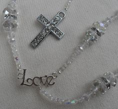 Lasso Wedding Rosary Czech Crystal Faceted Beads Crystal by kastex, $75.00