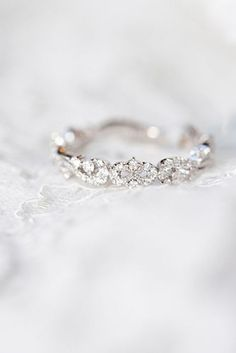 This beautiful wedding ring looks vintage inspired. It's dainty, feminine and timeless. We love how it still sparkles without taking away from your engagement ring.//not an engagement ring (it's a wedding band) but it's still pretty so I'm pinning it. Delicate Engagement Ring, Vintage Engagement Rings, Wedding Engagement, Solitaire Engagement, Engagement Bands, Vintage Promise Rings, Pretty Engagement Rings, Promise Rings For Her, Engagement Rings Gold Yellow