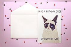 Grumpy Cat Birthday Card - I had a birthday #papergoods @EtsyMktgTool http://etsy.me/2i0kBql