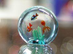 Murano glass aquarium miniature with tropical fish and octopus.