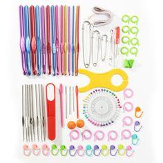 Jeteven 73Pcs Multi Colour soft Grip Handle Aluminum Crochet Hooks Knitting Needles Set/Kit