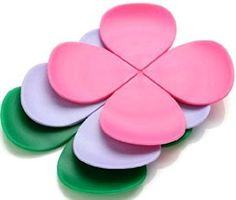 """Amazon.com: Custom & Cool in Set Pack of 6 Round Circle """"Flat & Smooth Texture"""" Drink Cup Coaster Made of Silicone w/ Silicone Bottom & Asian Garden Kitchen Flower Design [Assorted Pink, White & Green Colors]: Home & Kitchen"""