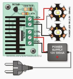 Connecting the driver to two serial power LEDs Hobby Electronics, Electronics Projects, Gadgets And Gizmos, Tech Gadgets, 1w Led, Electronic Workbench, Led Projects, Led Diy, Circuit Diagram