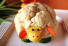 Vegetable Lamb by dulgyme - Fingerfood Lamb Cupcakes, Vegetable Animals, Bunny Bread, Easter Appetizers, Food Art For Kids, Shaun The Sheep, Rice Krispie Treats, Fruit And Veg, Kids Meals