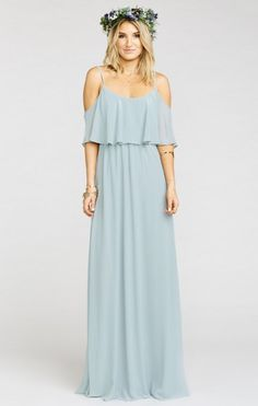 Pale blue boho bridesmaid dress . Pretty off-the-shoulder maxi dress | Caitlin Ruffle Maxi Dress ~ Steel Blue Chiffon from Show Me Your Mumu