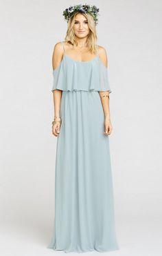 Steel Blue bridesmaid dress -- Caitlin Ruffle Maxi Dress ~Steel Blue Chiffon | Show Me Your MuMu