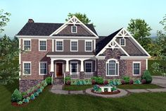 Elevation of Craftsman   House Plan 74817