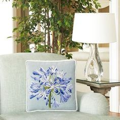 You can get this beautiful handmade Boxed Blooms Agapanthus on Pale Blue Elizabeth Bradley Home pillow for a discounted price! • • #needlepoint #luxury #needlepointpillow #homedecor #agapanthus