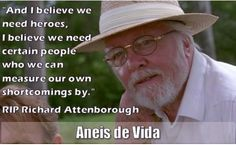 """#RIPRichardAttenborough   We just heard of the passing of Richard Attenborough.   Our younger followers will remember him from Jurassic Park.  """"And I believe we need heroes, I believe we need certain people who we can measure our own shortcomings by."""" Richard Attenborough, Jurassic Park, We Need, Followers, Believe, Celebrities, People, Life, Celebs"""