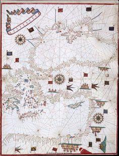 [Carta portulana del mar Mediterráneo]. Material cartográfico manuscrito — 1570