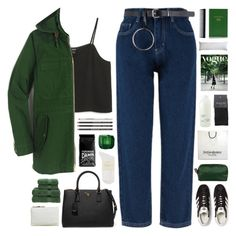 """green"" by giulls1 ❤ liked on Polyvore featuring Monki, J.Crew, adidas Originals, Prada, Dolce&Gabbana, Yves Saint Laurent, SELECTED, Davines, Christy and Sloane Stationery"