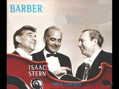 Photo on record jacket for Samuel Barber's Violin Concerto - Conductor Leonard Bernstein, Composer Samuel Barber and Violinist Isaac Stern.