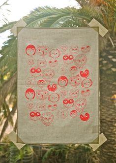 MOCHO Owl Printed Teatowel Neon Pink by SeptemberDesign on Etsy, $30.00
