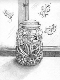 """Säilötty kesä"" by Mc Nihvisentti Zentangle, Vase, Summer Fall, Drawings, Nature, Home Decor, Naturaleza, Decoration Home, Zentangle Patterns"