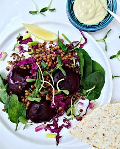 Brown Lentils, Instagram Feed, Instagram Posts, Red Cabbage, Baby Spinach, Beetroot, Summer Recipes, Acai Bowl, Vegan