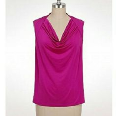 3X Jones Studio Pink Drape Neck Blouse Jones Studio blouse in a 3X. Drape neck. Sleeveless. Pink that verges on fuschia. New without tags. Jones Studio Tops Blouses