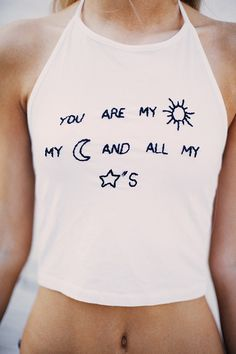 Brandy ♥ Melville | Sachi Sun, Moon and Stars Embroidery Halter - Graphics