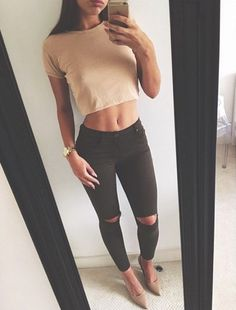 nude crop top + black jeans + nude sandals