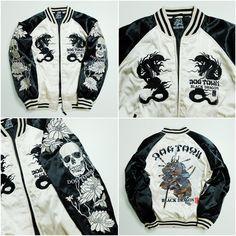 Vintage Japanese Skate Board Deck Brand Cult Dogtown Skeleton Skull Punk Rock Samurai Musha Warrior Dragon Ryu Embroidered Tattoo Art Design Sukajan Souvenir Jacket Tour Jacket ( Size : M ) - Japan Lover Me Store